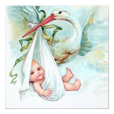 Teal Blue Vintage Stork Baby Shower Invitations