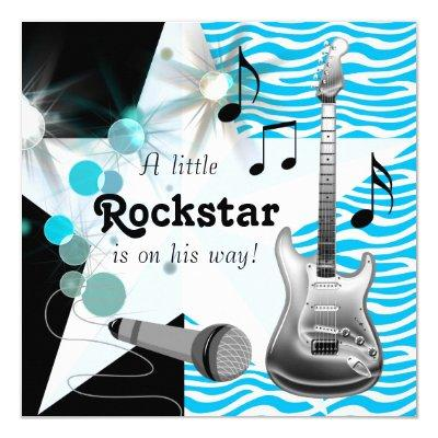 Teal Blue Zebra Rock Star Baby Boy Shower Invitations