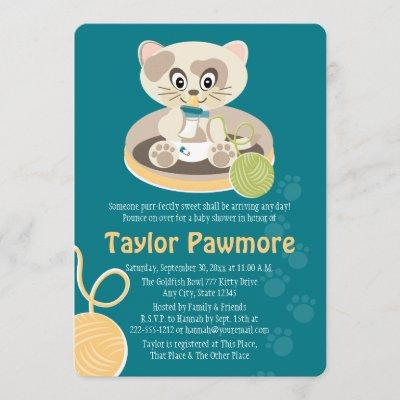 Teal Cat in Diapers Baby Shower Invitation
