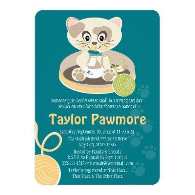 Teal Cat in Diapers Baby Shower Invitations