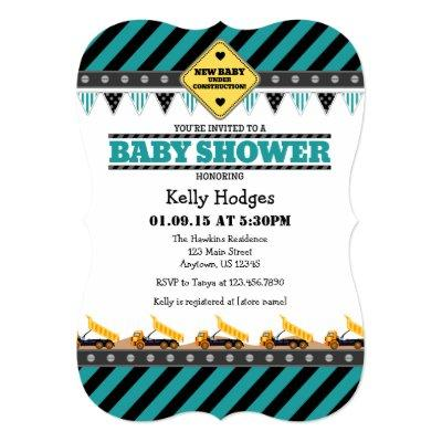 Teal Construction Baby Shower Invitations