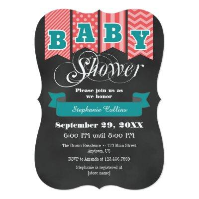 Teal Coral Chalkboard Flag Baby Shower Invite