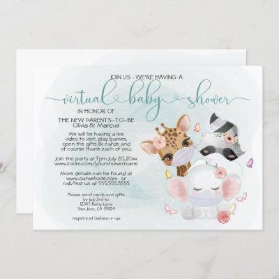 Teal Cute Animals in Masks Virtual Baby Shower Invitation