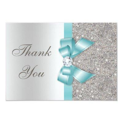 Teal Faux Bow Silver Diamonds Thank You Invitations