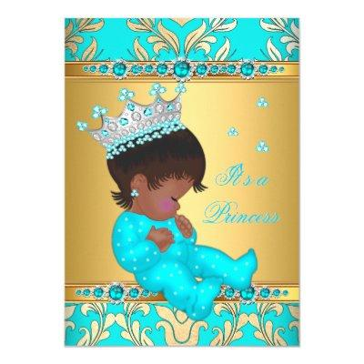 Teal Gold Pearl Princess Ethnic Invitations