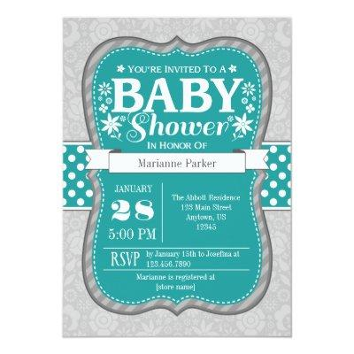 Teal Gray Flower Floral Baby Shower Invitation