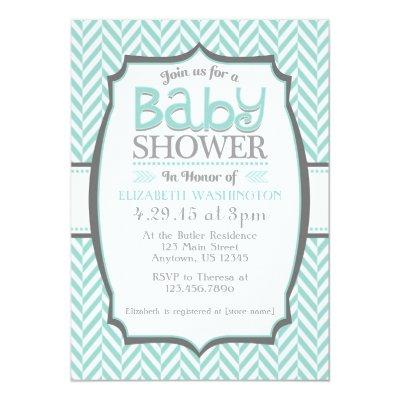 Teal Gray Herringbone Baby Shower Invitations