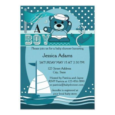 Teal Nautical Boy Baby Shower Invitation
