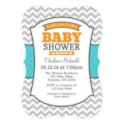 Teal Orange Gray Chevron Baby Shower Invitation
