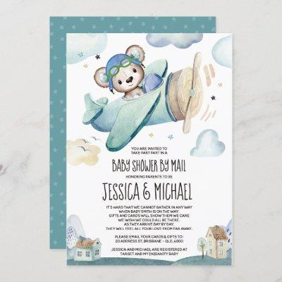 Teddy Bear Airplane | Baby Shower by Mail Invitation