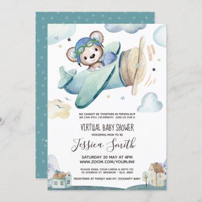 Teddy Bear Airplane | Virtual Baby Shower Invitation