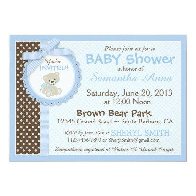 Teddy Bear Baby Boy Baby Shower Blue Invitations