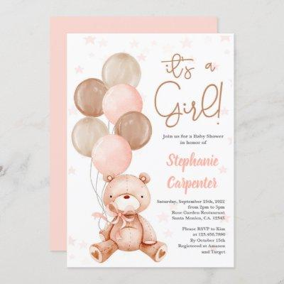Teddy Bear Baby shower girl Invitation
