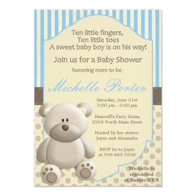 Teddy bear baby boy shower baby shower invitations baby shower teddy bear for a boy filmwisefo Image collections