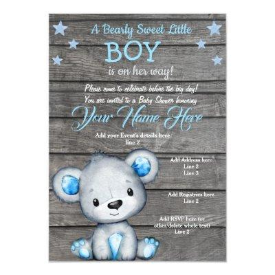 Teddy Bear Baby Shower Invitation, rustic blue boy Invitation