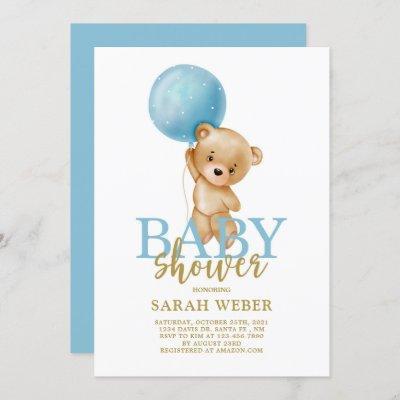 Teddy bear balloon baby shower boy invitation