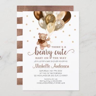 Teddy Bear Beary Cute Baby Shower Invitation