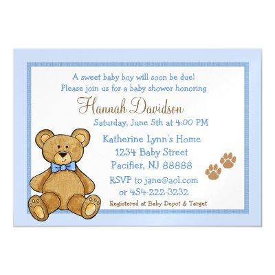 Teddy Bear Blue Baby Shower Magnetic Invitation