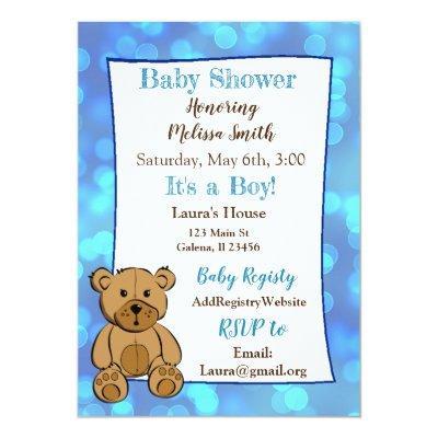 Teddy Bear Invite Baby Shower Invitations Baby Shower Invitations