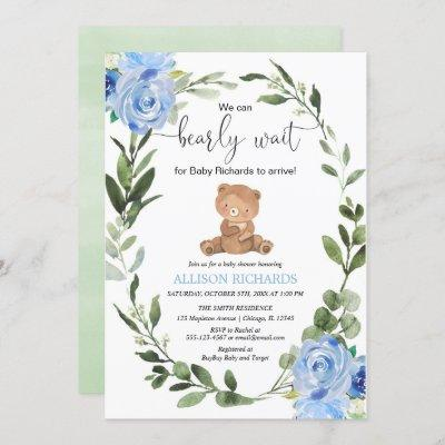 Teddy Bear blue greenery floral boy baby shower Invitation