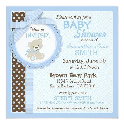 Teddy Bear Boy Blue Invitations