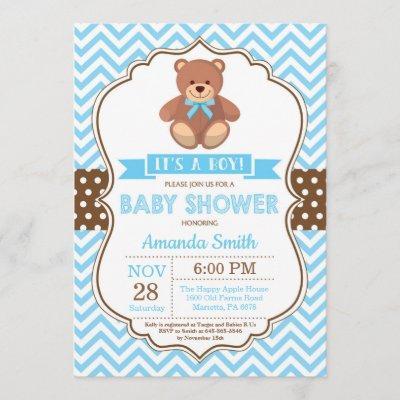 Teddy Bear Boy Baby Shower Blue Chevron Invitation