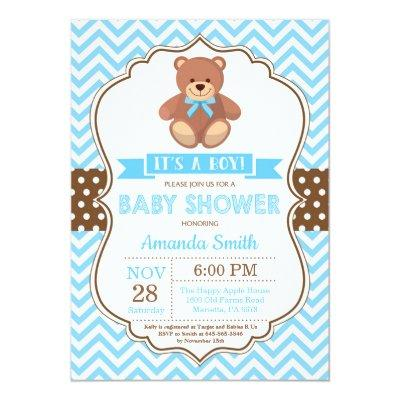 Teddy Bear Boy Baby Shower Blue Chevron Invitation