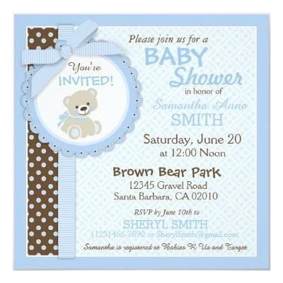 Teddy Bear Boy Baby Shower Blue Invitations