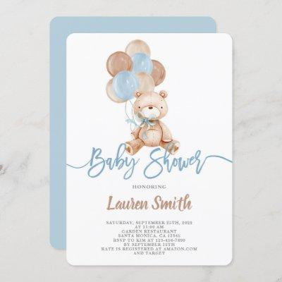 Teddy Bear Boy Baby Shower Invitation