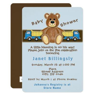Teddy Bear Dump Truck Baby Shower Invitation