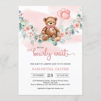 Teddy Bear Eucalyptus Wreath Girl Baby Shower Invitation