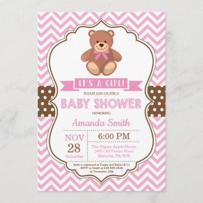 Teddy Bear Girl Baby Shower Pink Chevron Invitation