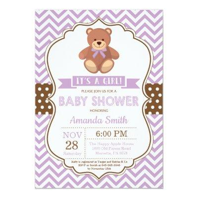 Teddy Bear Girl Baby Shower Purple Chevron Invitation