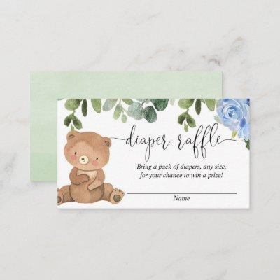 Teddy bear greenery blue floral boy diaper raffle enclosure card