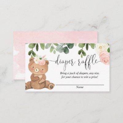 Teddy bear greenery pink floral girl diaper raffle enclosure card