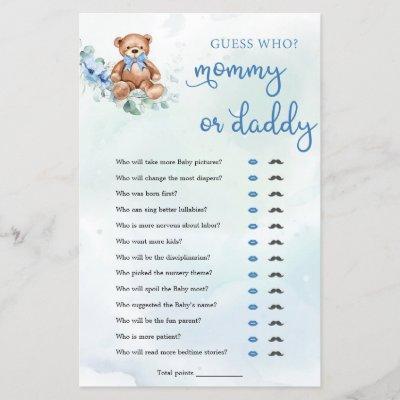 Teddy Bear Mommy or Daddy Boy Baby Shower Game
