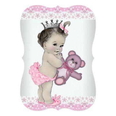 Teddy Bear Pink Princess Baby Shower Invitation