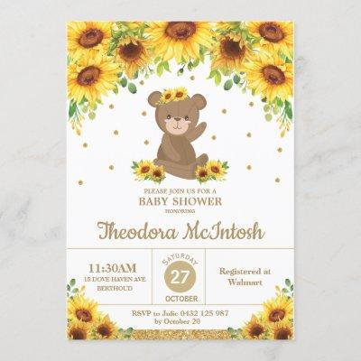 Teddy Bear Sunflower Floral Baby Shower Girl Invitation