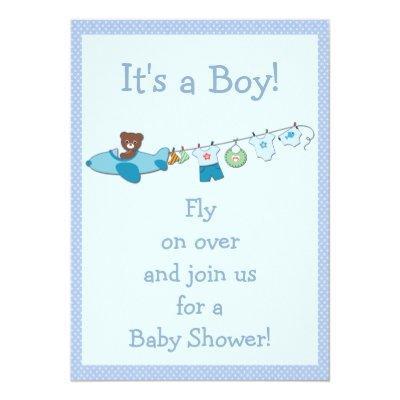Teddy in Plane & Clothesline Blue Boy Baby Shower Invitations