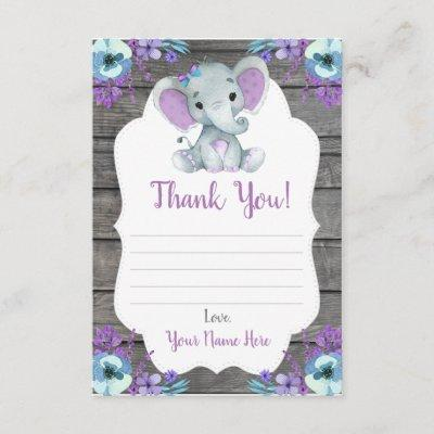 Thank You Card Girl Elephant Shower with Flowers