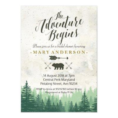 The Adventure Begins Bridal Shower Invitations