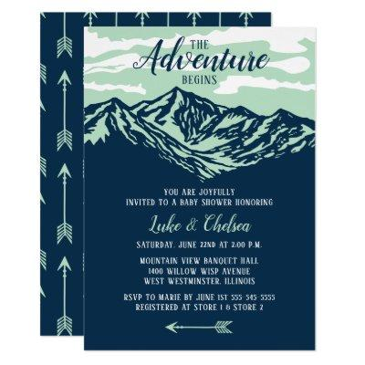 The Adventure Begins Mountain Rustic Baby Shower Invitations