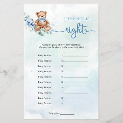 The Price is Right Boy Baby Shower Game Teddy Bear
