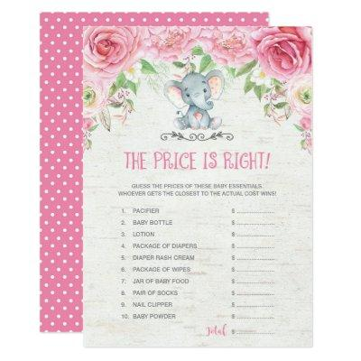 The Price is Right Pink Elephant Baby Shower Game Invitation