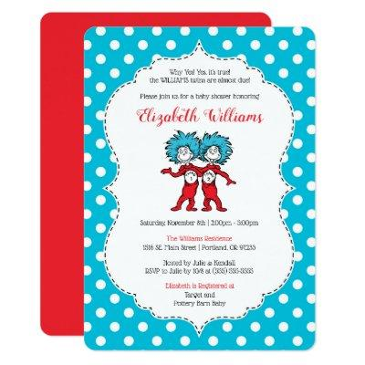 Thing 1 Thing 2 | Twins Baby Shower Invitations