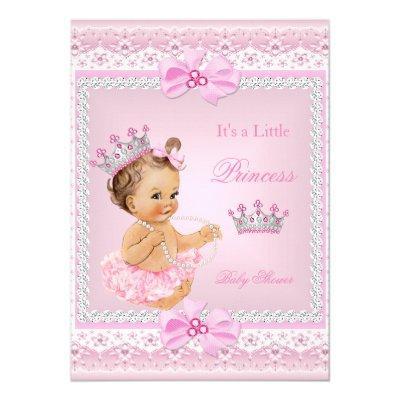 Tiara Girl Princess Pink Pearls Brown Invitations