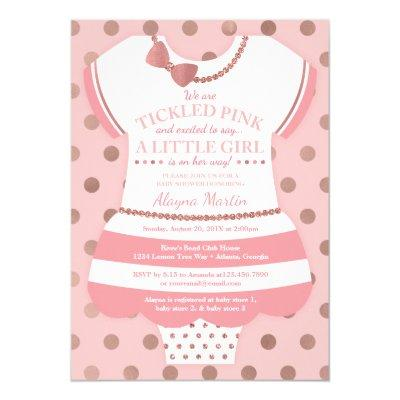 Tickled Pink Baby Shower Invitation, Faux Glitter Invitation