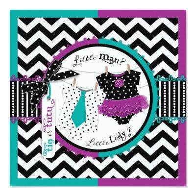 Tie or Tutu & Chevron Print Gender Reveal Party Invitation