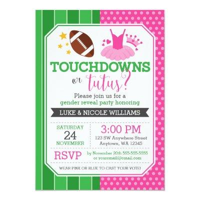 Touchdowns or Tutus Gender Reveal Party Invitations