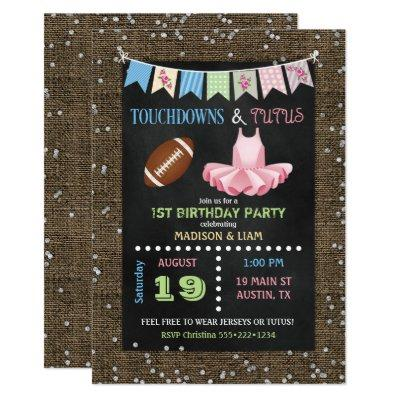 Touchdowns & Tutus Twins Birthday or